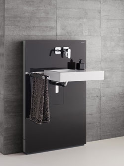 geberit die neue schnittstelle zwischen waschtisch und wand baudatenbank at. Black Bedroom Furniture Sets. Home Design Ideas