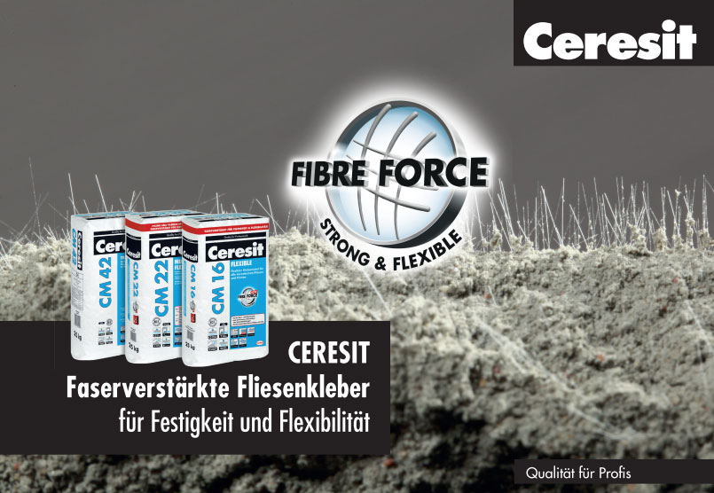"Ceresit Fliesenkleber mit ""Fibre Force""-Technologie"
