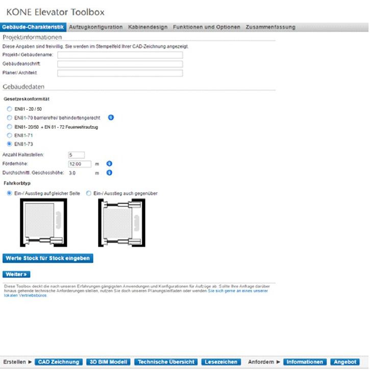 kone kone aufzugs planung per mausklick baudatenbank. Black Bedroom Furniture Sets. Home Design Ideas