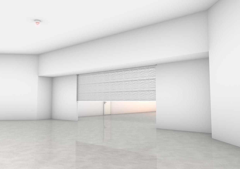 BU: Feuerschutzvorhänge für Wandöffnungen lassen sich dezent in das Bauwerk integrieren