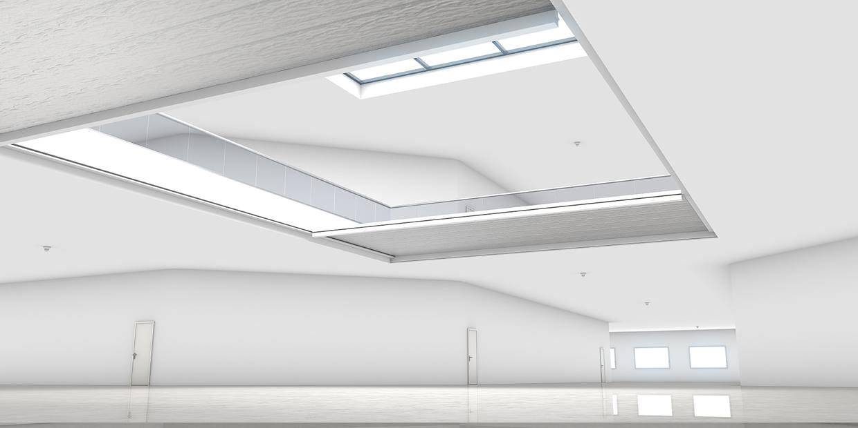 BU: Horizontale Feuerschutzvorhänge verschließen Deckenöffnungen bis 10 x 20 m (zweiteilige Ausführung)