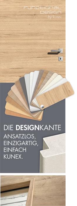 Funktionalität und Design ab der Türblattkante. Einzigartig, formschön, einfach Kunex